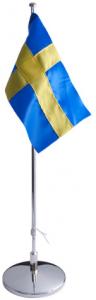 Flaggstång nysilver, svensk flagga, 42cm | Doppresenter.se