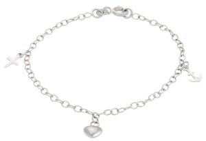 Silverarmband, tro hopp och kärlek, 17cm | Doppresenter.se