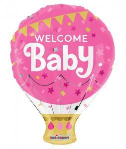 Folieballong Welcome Baby, Rosa   Doppresenter.se