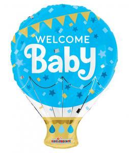 Folieballong Welcome Baby, Blå   Doppresenter.se