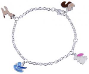 Silverarmband, Skogens vänner, 15,5cm, äkta silver | Doppresenter.se