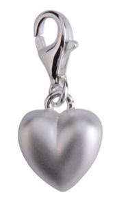 Berlock Matt hjärta, äkta silver - Sagosmycken | Doppresenter.se