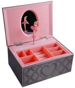 Smyckeskrin Speldosa med ballerina,rosa inredning, tennfinish | Doppresenter.se