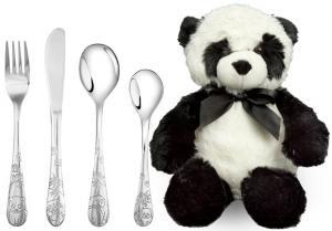 Barnset med 4 rostfria bestik och mjukis panda, Doppresenter.se