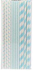 Sugrör i papper ljus blå mix, 24p | Doppresenter.se