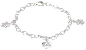 Silverarmband blommor med Zirkoniasten, 17cm | Doppresenter.se