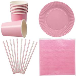 Paket rosa dukning för 8 personer | Doppresenter.se