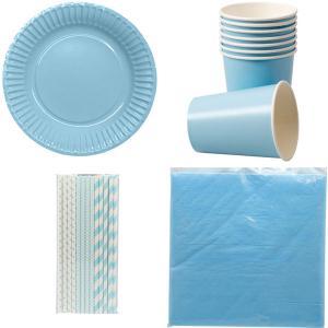 Paket blå dukning för 8 personer | Doppresenter.se