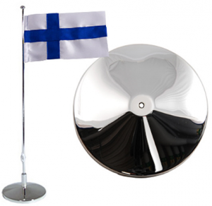 Flaggstång nysilver, Finsk flagga, 42cm