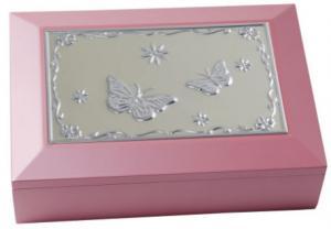 Smyckeskrin i trä med speldosa, rosa | Doppresenter.se