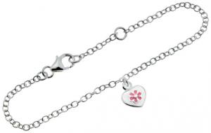Silverarmband, Hjärta med blomma, 17cm | Doppresenter.se