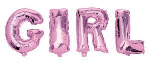 Folieballonger GIRL rosa   Doppresenter.se