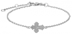 Silverarmband med dagmarkors, doppresent, 16cm | Doppresenter.se