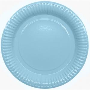 Papperstallrikar 23,5cm, ljus blå, 8p | Doppresenter.se