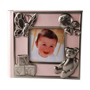 Fotoalbum rosa tennfinish dekor för 100 foton