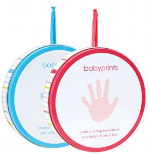 Babyprints hand och fotavtryck i plåtburk (Rosa)