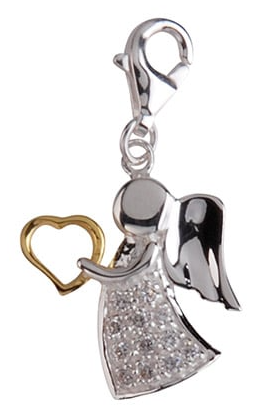 Berlock Ängel med guldhjärta, äkta silver - Sagosmycken