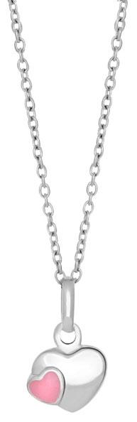 Silverhalsband med rosa emaljerat silverhjärta, 38cm