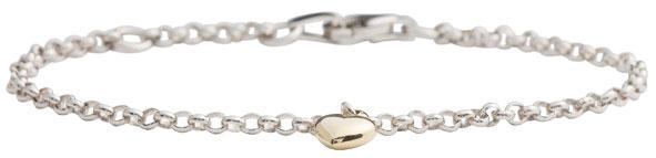Silverarmband med guldhjärta i 8karat, 16cm